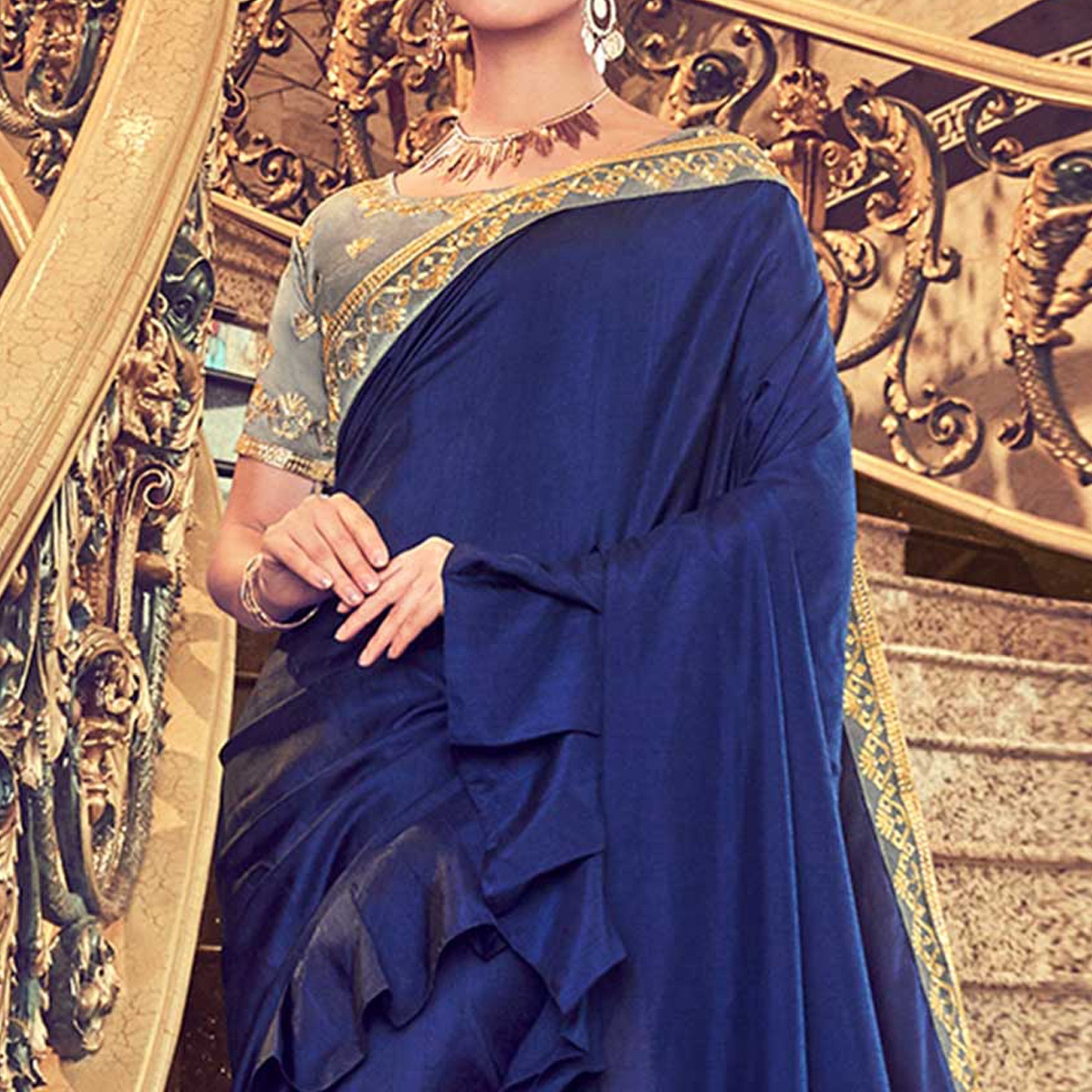 Adorning Navy Blue Colored Partywear Embroidered Georgette Saree