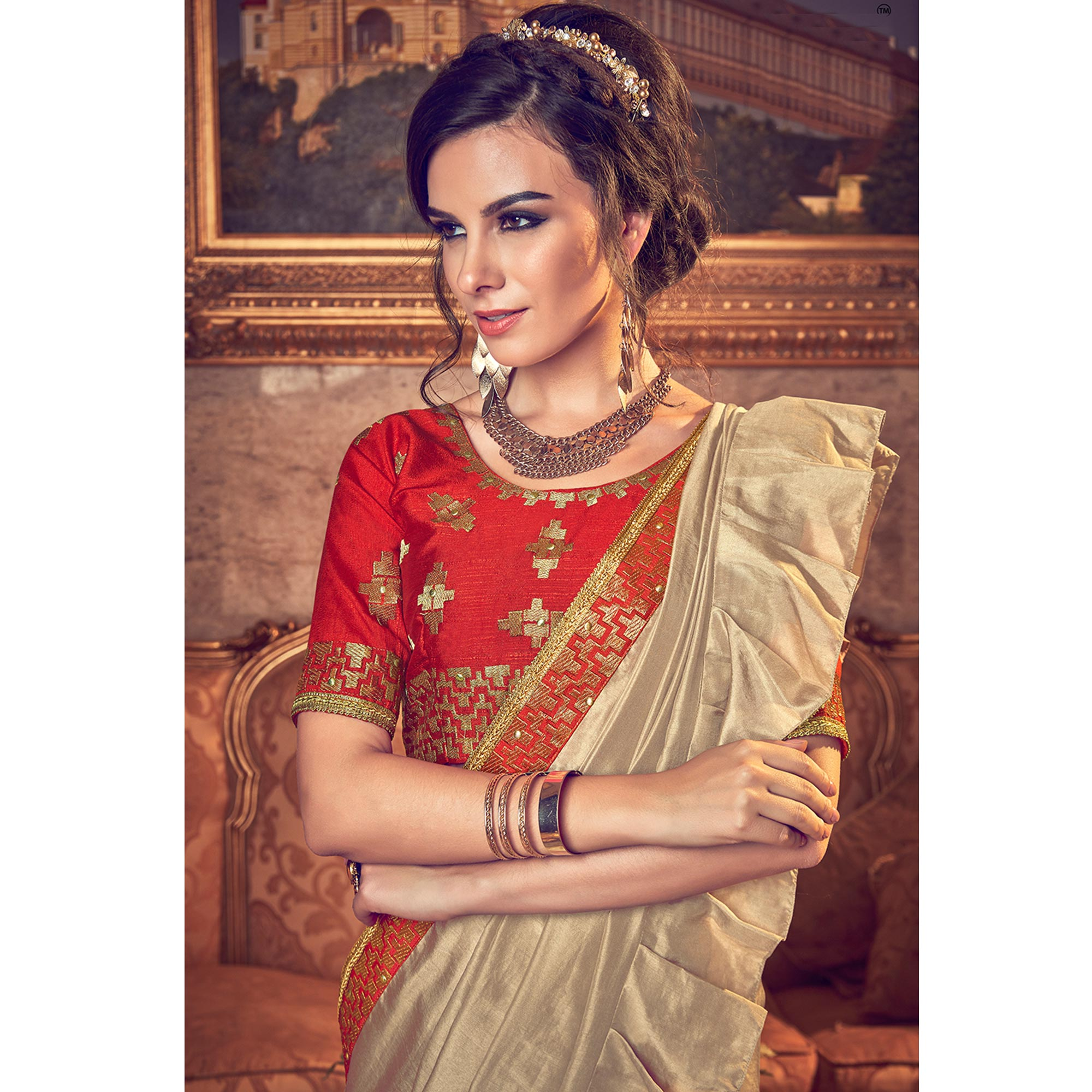 Appealing Chiku Colored Partywear Embroidered Georgette Saree
