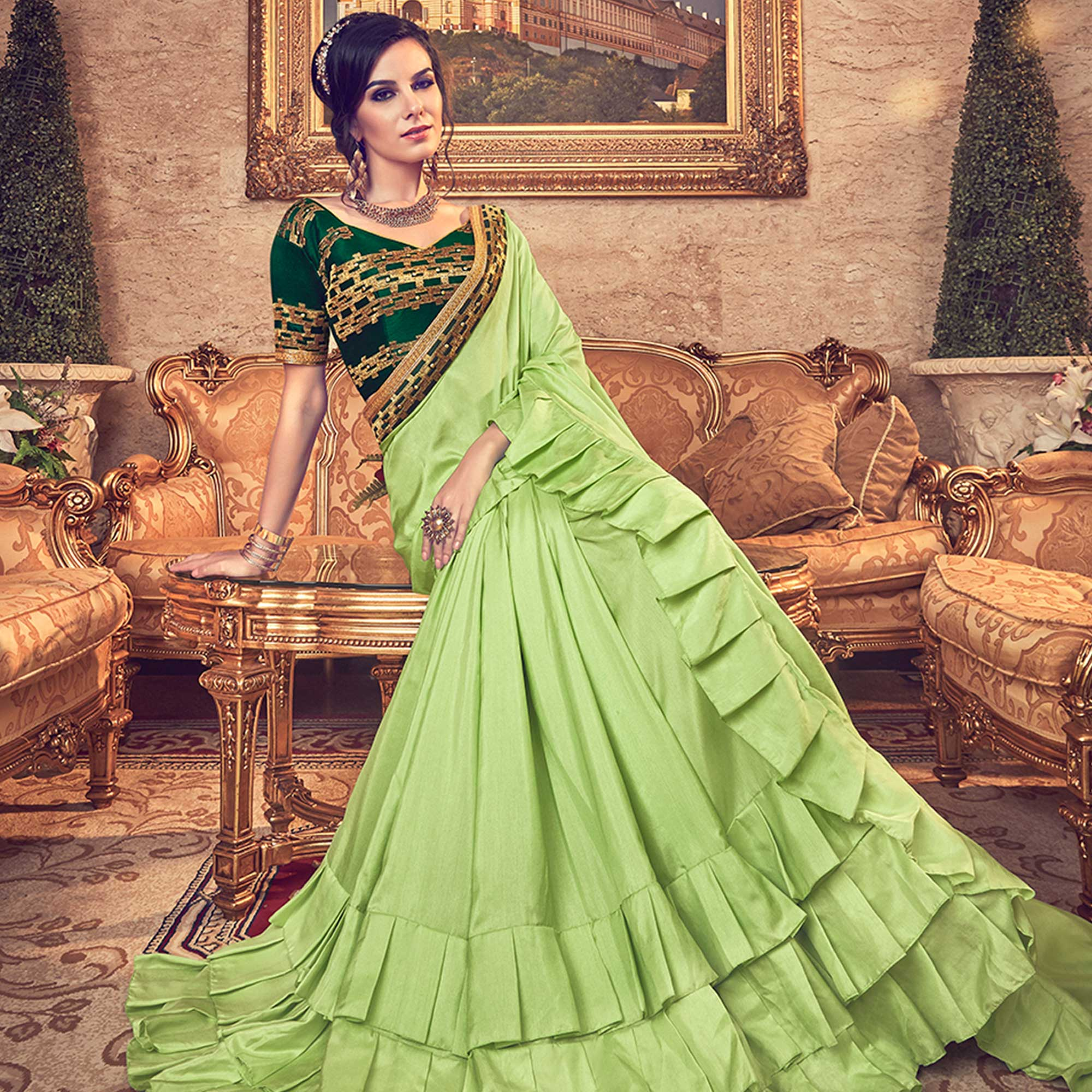 Entrancing Green Colored Partywear Embroidered Georgette Saree