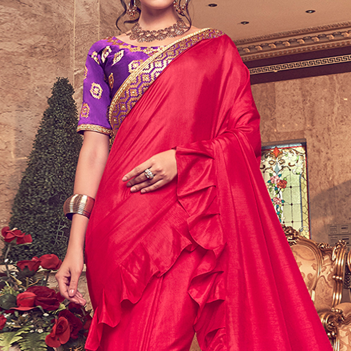 Prominent Red Colored Partywear Embroidered Georgette Saree