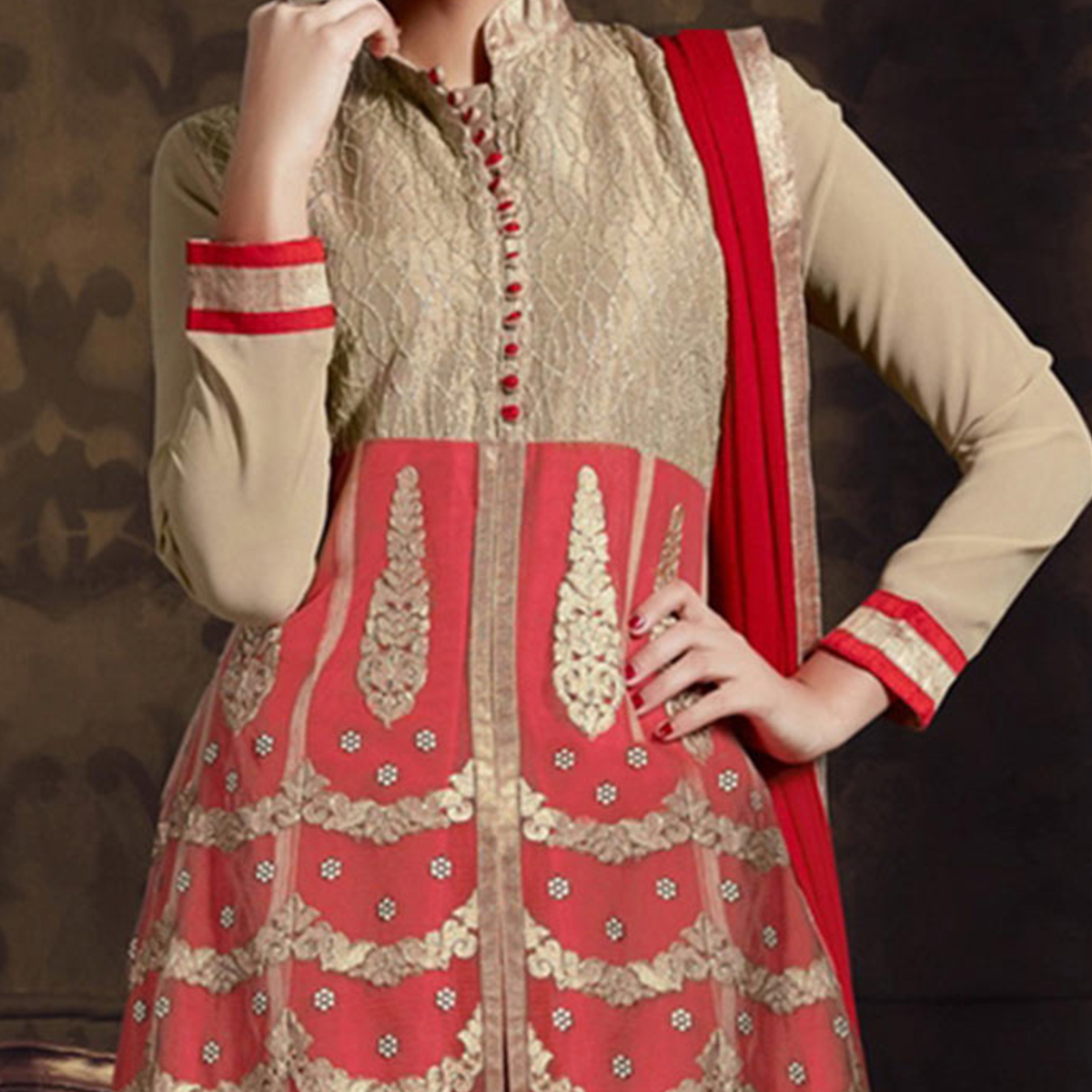 Red Georgette Front Slit Patiala Suit