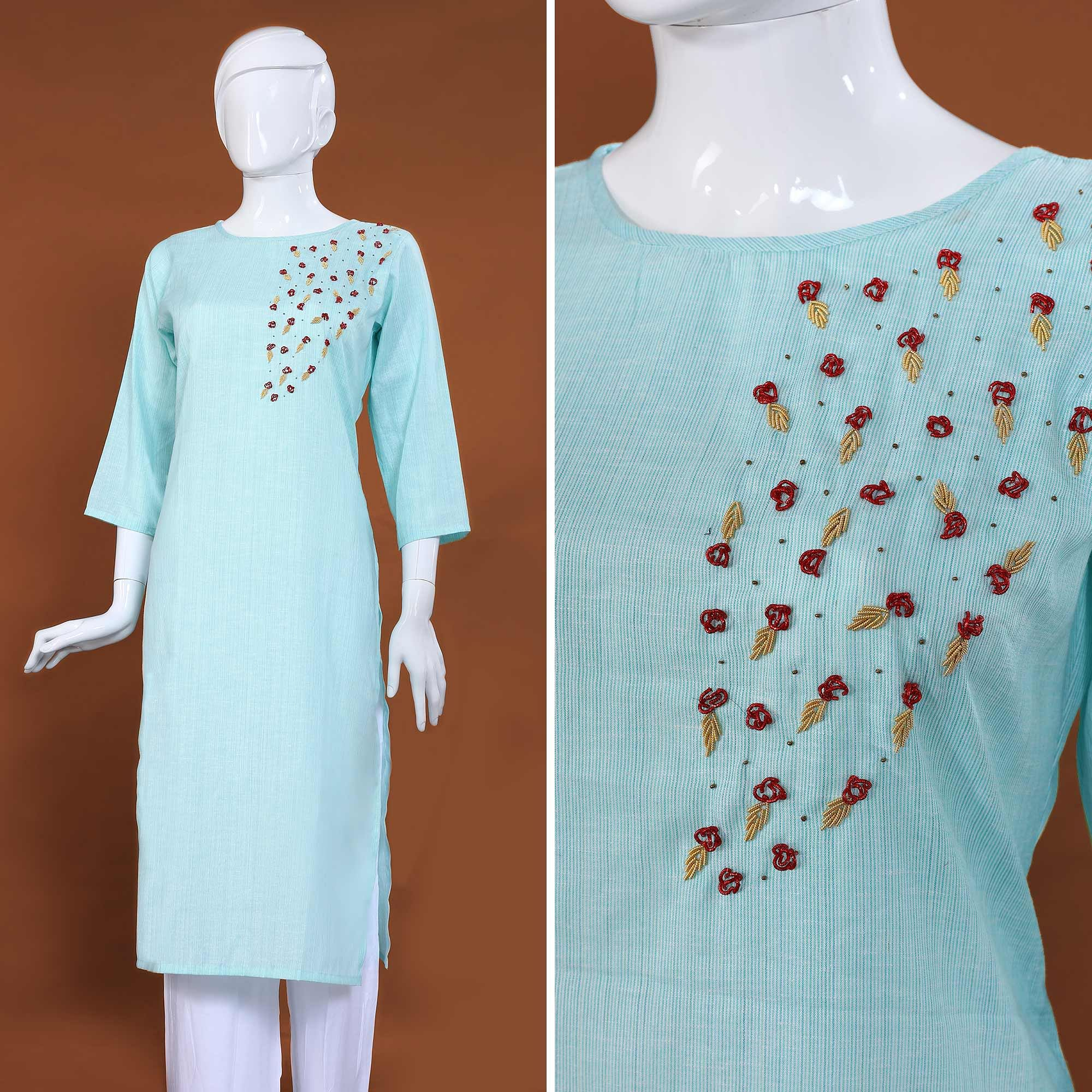 Intricate Sky Blue Colored Casual Hand Embroidered Cotton Kurti