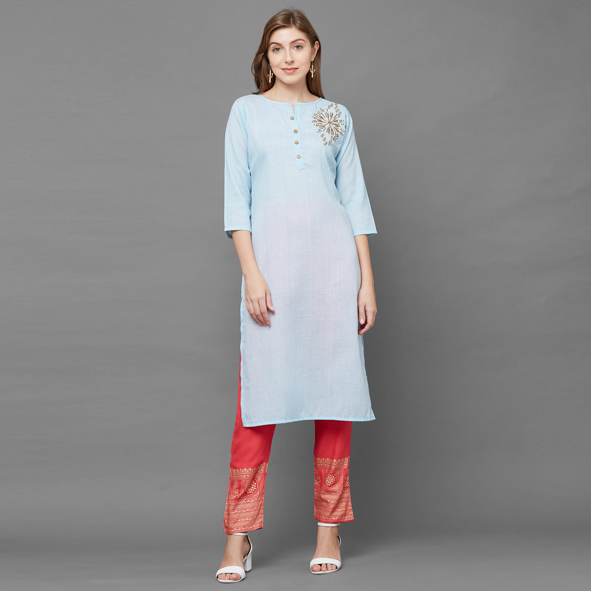 Arresting Light Blue Colored Casual Hand Embroidered Cotton Kurti