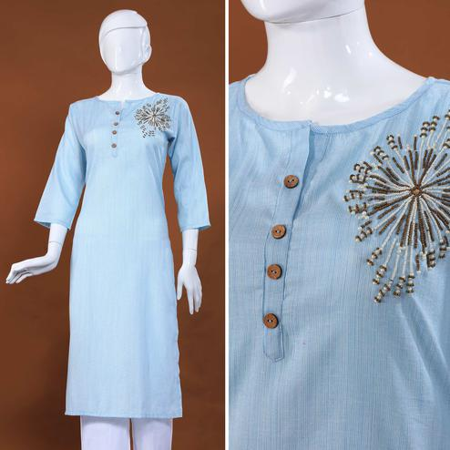 Arresting Light Grey Colored Casual Embroidered Cotton Kurti