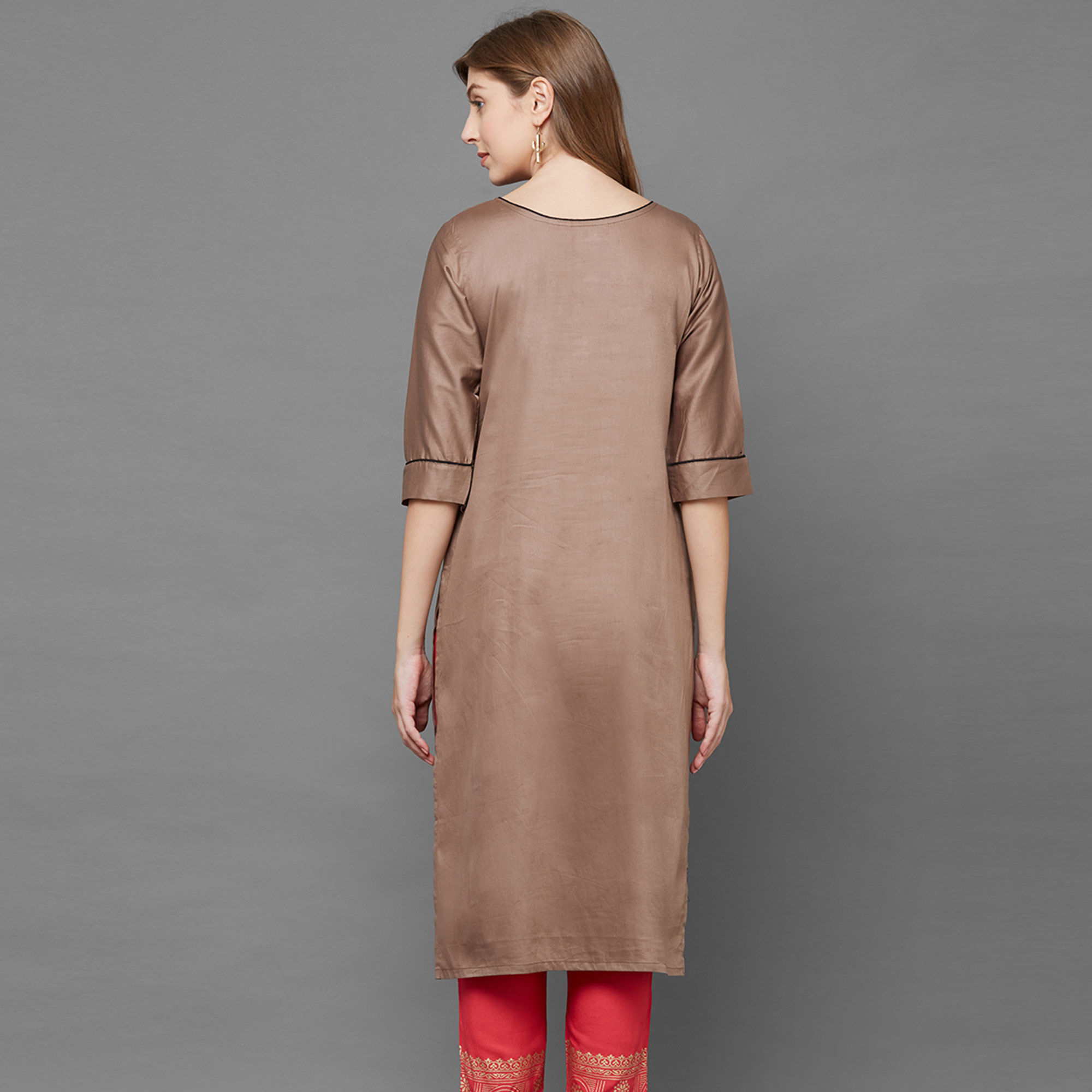 Exotic Brown Colored Casual Hand Embroidered Rayon Kurti