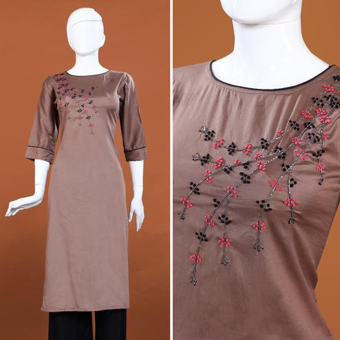 Exotic Brown Colored Casual Hand Embroidered Cotton Kurti