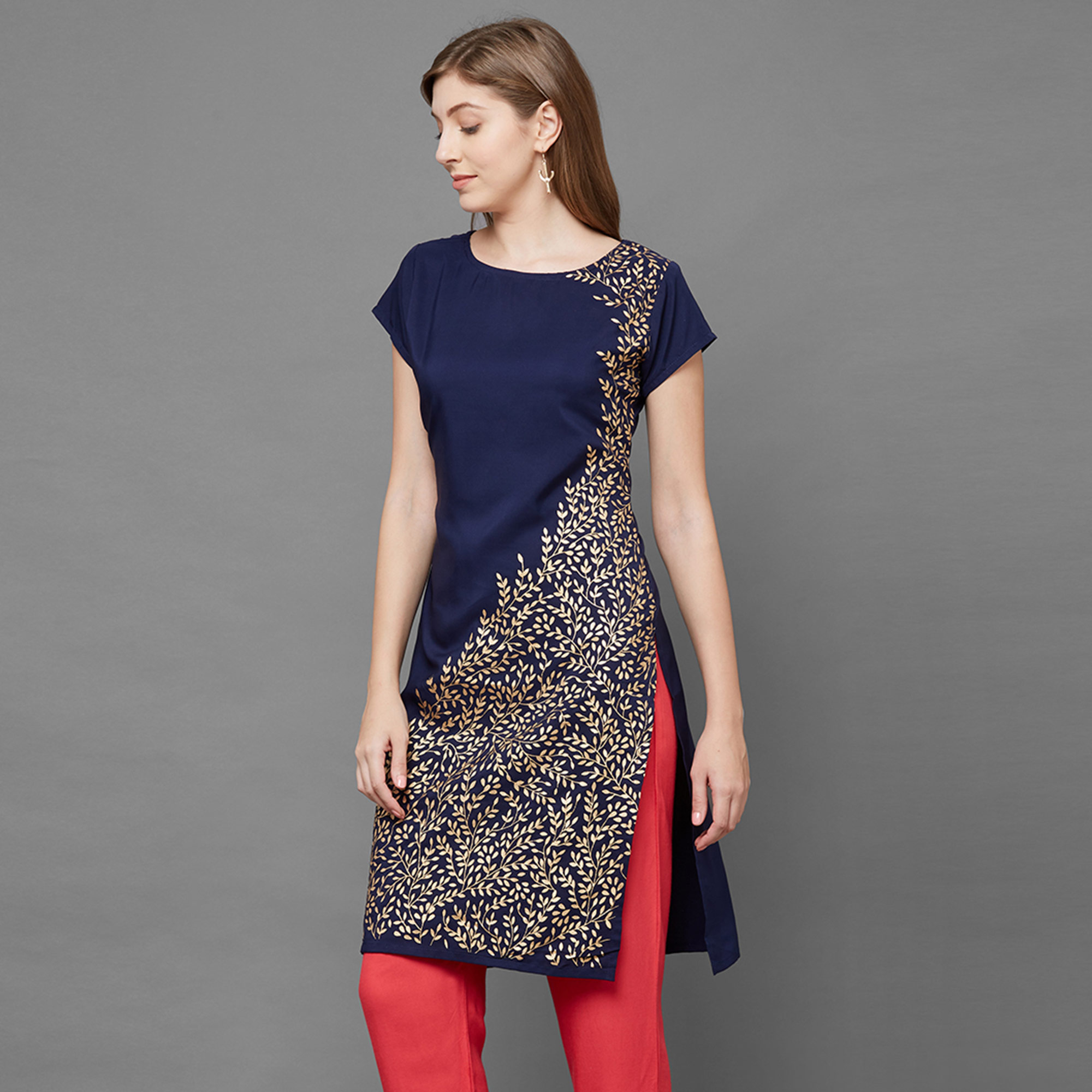 Sophisticated Navy Blue Colored Casual Foil Printed Crepe Kurti