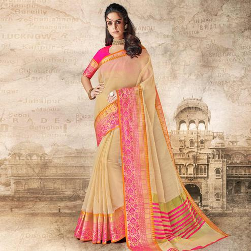Adorable Cream Colored Festive Wear Woven Cotton Silk Saree
