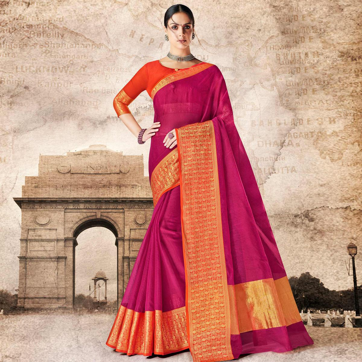 Glorious Pink Colored Festive Wear Woven Cotton Silk Saree
