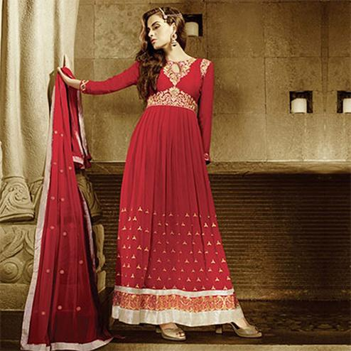 Vibrant Red Designer Anarkali Suit
