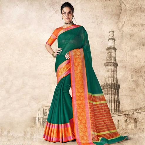 Attractive Dark Green Colored Festive Wear Woven Cotton Silk Saree