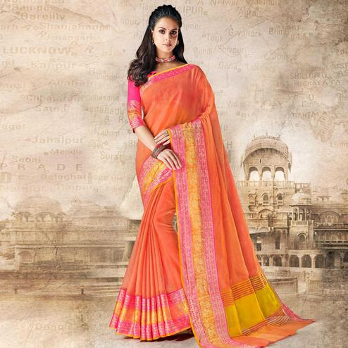 Beautiful Peach Colored Festive Wear Woven Cotton Silk Saree
