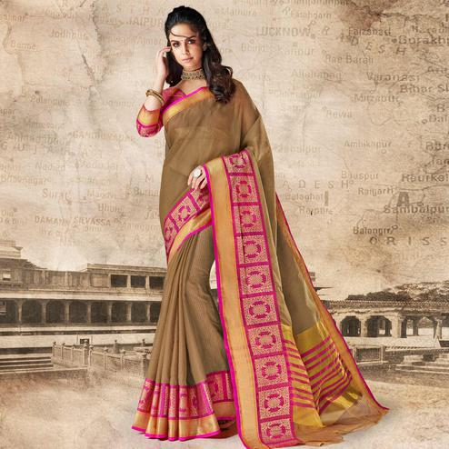 Graceful Brown Colored Festive Wear Woven Cotton Silk Saree