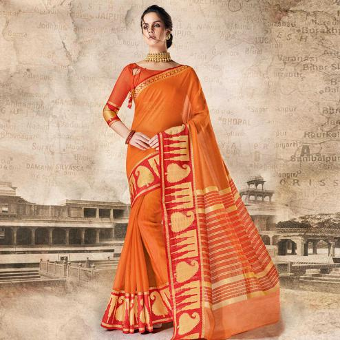 Blooming Orange Colored Festive Wear Woven Cotton Silk Saree