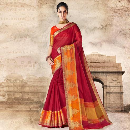 Charming Maroon Colored Festive Wear Woven Cotton Silk Saree