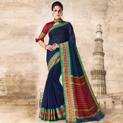 Jazzy Navy Blue Colored Festive Wear Woven Cotton Silk Saree