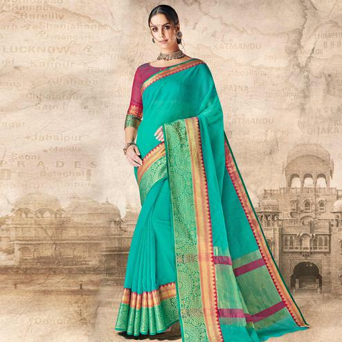 Engrossing Turquoise Blue Colored Festive Wear Woven Cotton Silk Saree