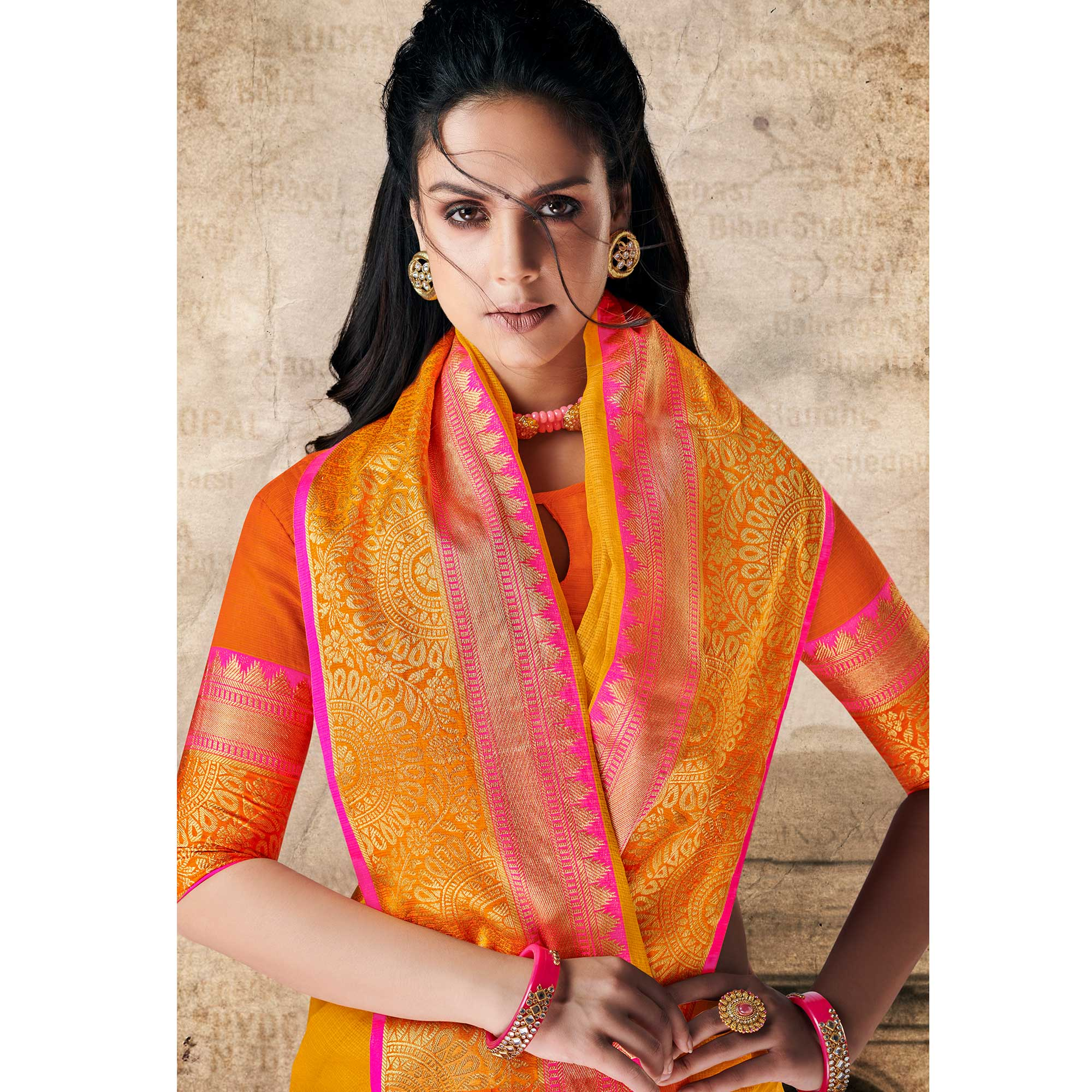 Captivating Yellow Colored Festive Wear Woven Cotton Silk Saree
