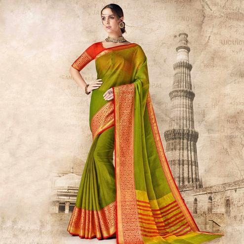 Innovative Green Colored Festive Wear Woven Cotton Silk Saree