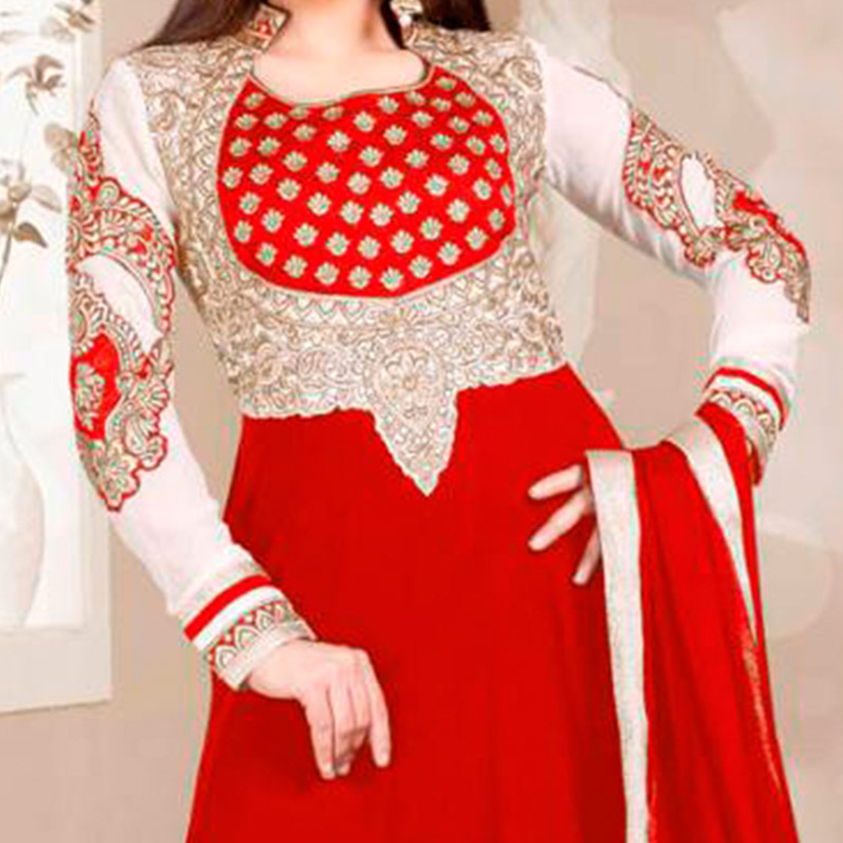 Red Wedding Wear Anarkali Dress