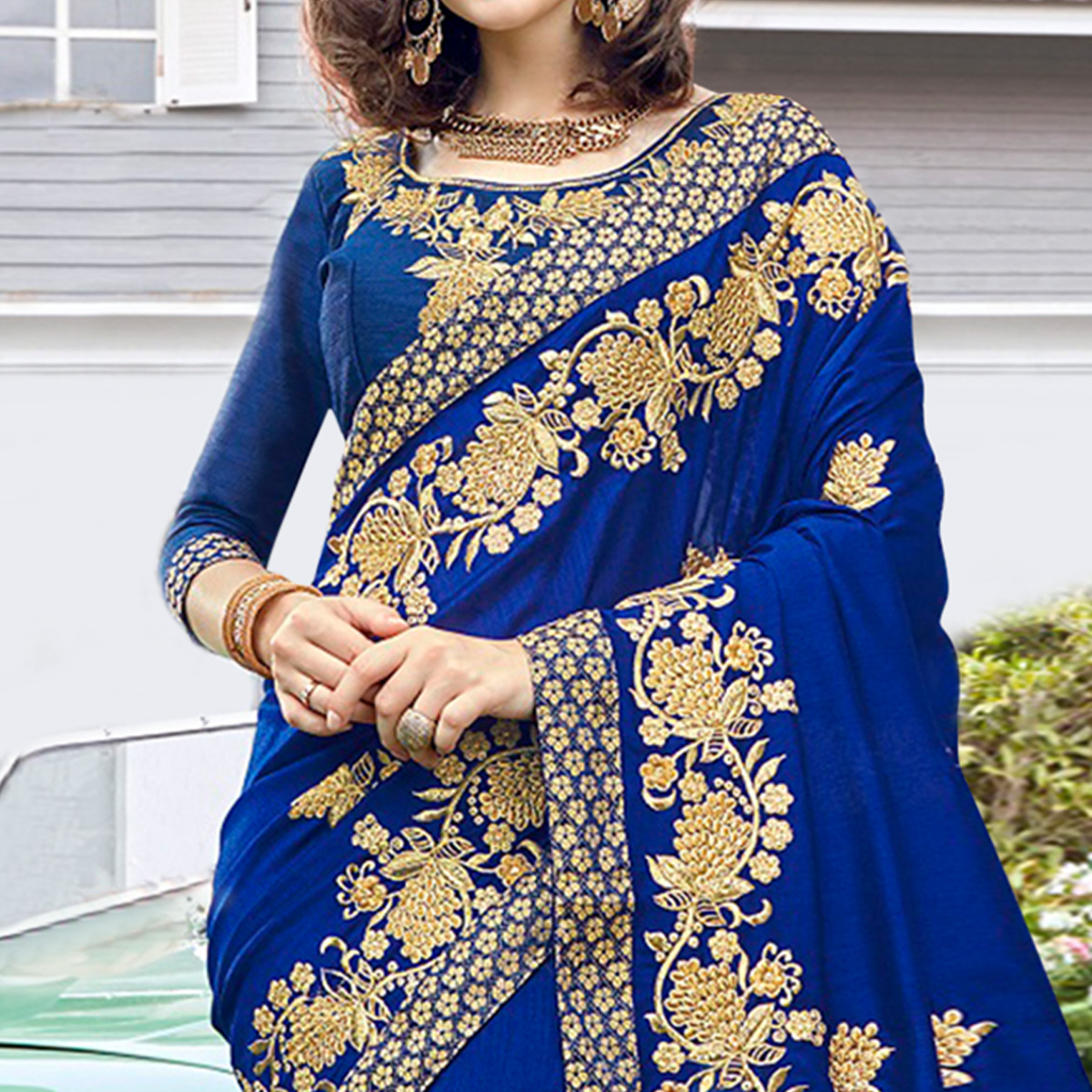 Fantastic Navy Blue Colored Partywear Embroidered Georgette Saree