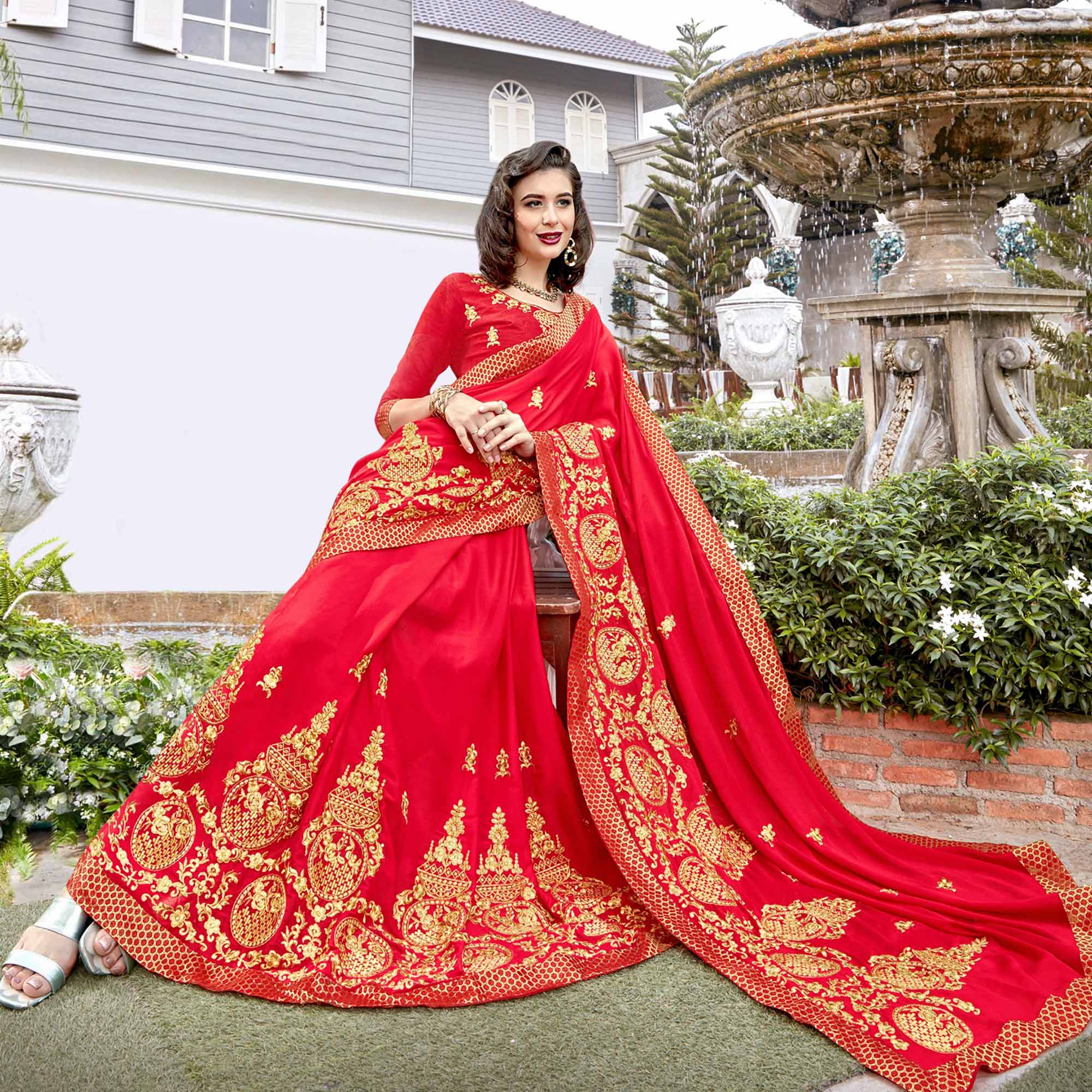 Amazing Red Colored Partywear Embroidered Georgette Saree