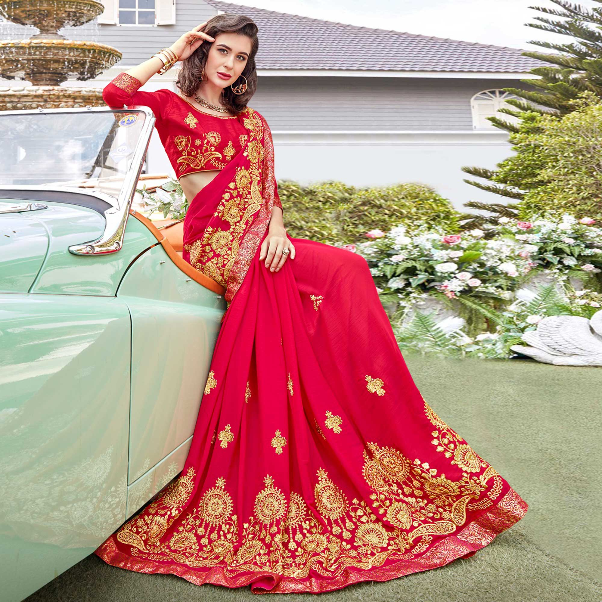 Blissful Pink Colored Partywear Embroidered Georgette Saree