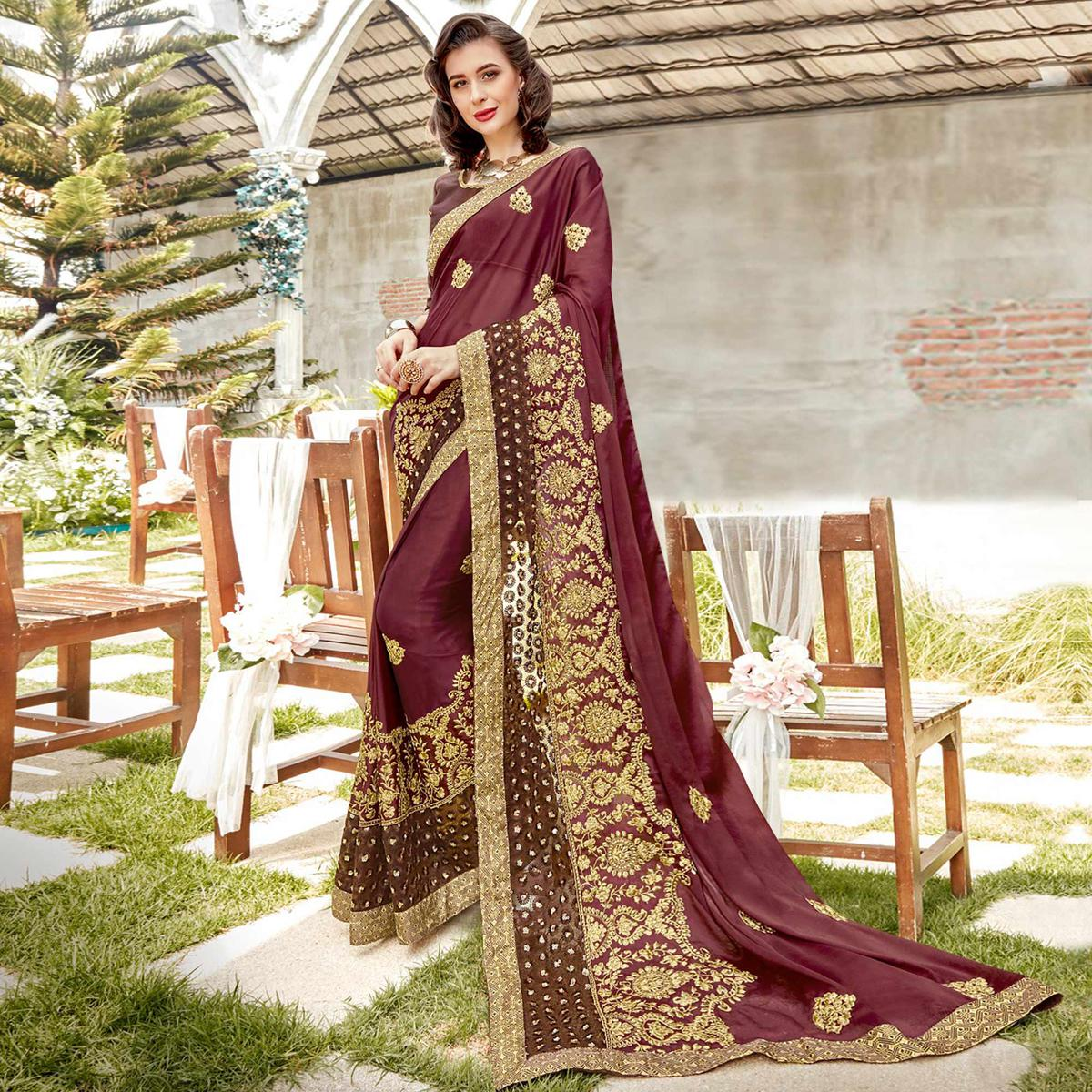Imposing Coffee Brown Colored Partywear Embroidered Georgette Saree