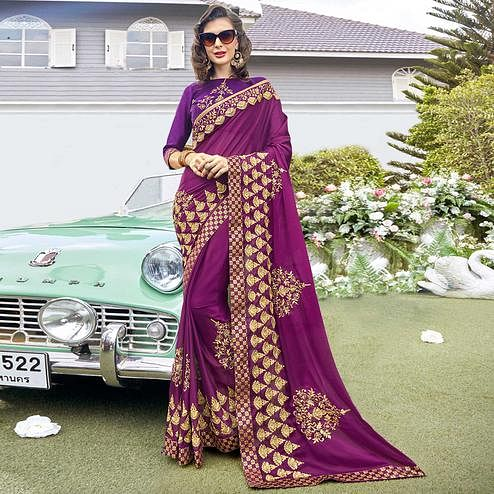 Lovely Purple Colored Partywear Embroidered Georgette Saree