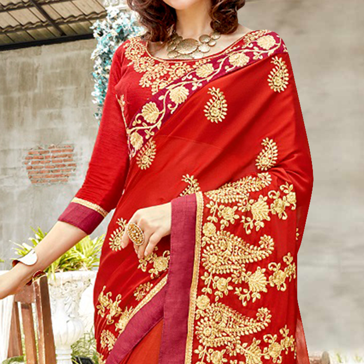 Majesty Red Colored Partywear Embroidered Georgette Saree