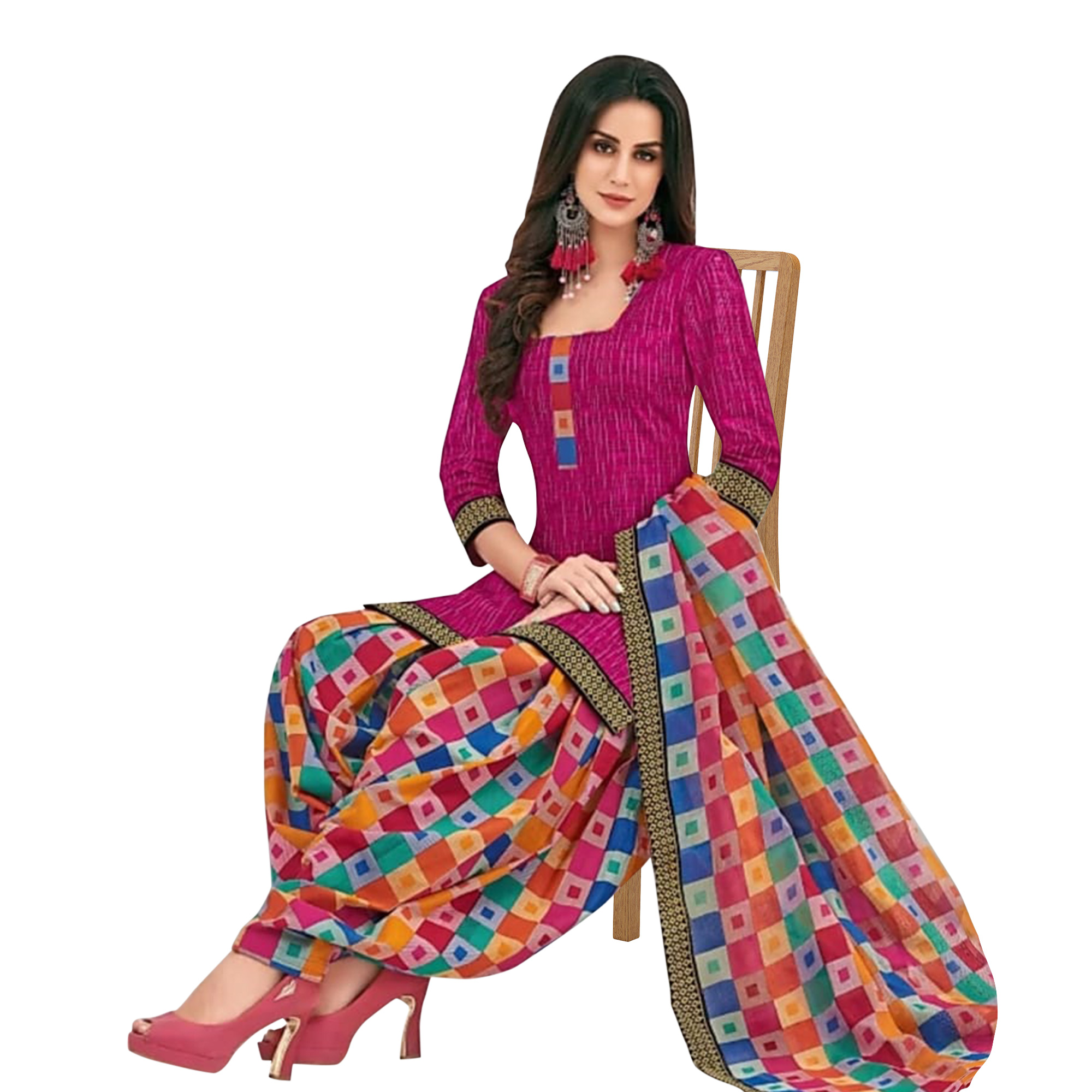 Groovy Magenta Pink Colored Casual Printed Crepe Patiala Dress Material