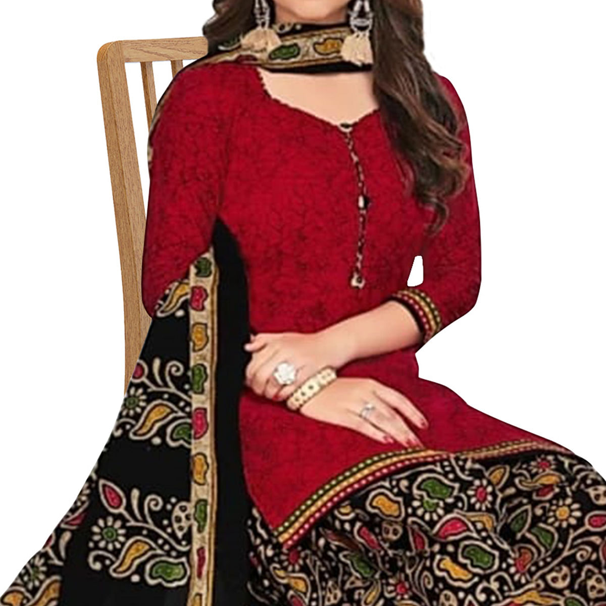 Opulent Maroon Colored Casual Printed Crepe Patiala Dress Material