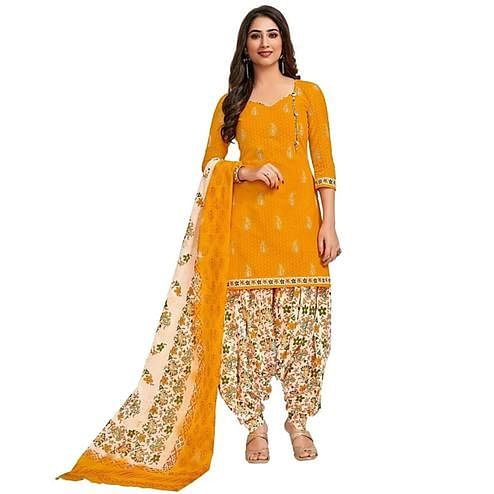 Energetic Yellow Colored Casual Printed Crepe Patiala Dress Material