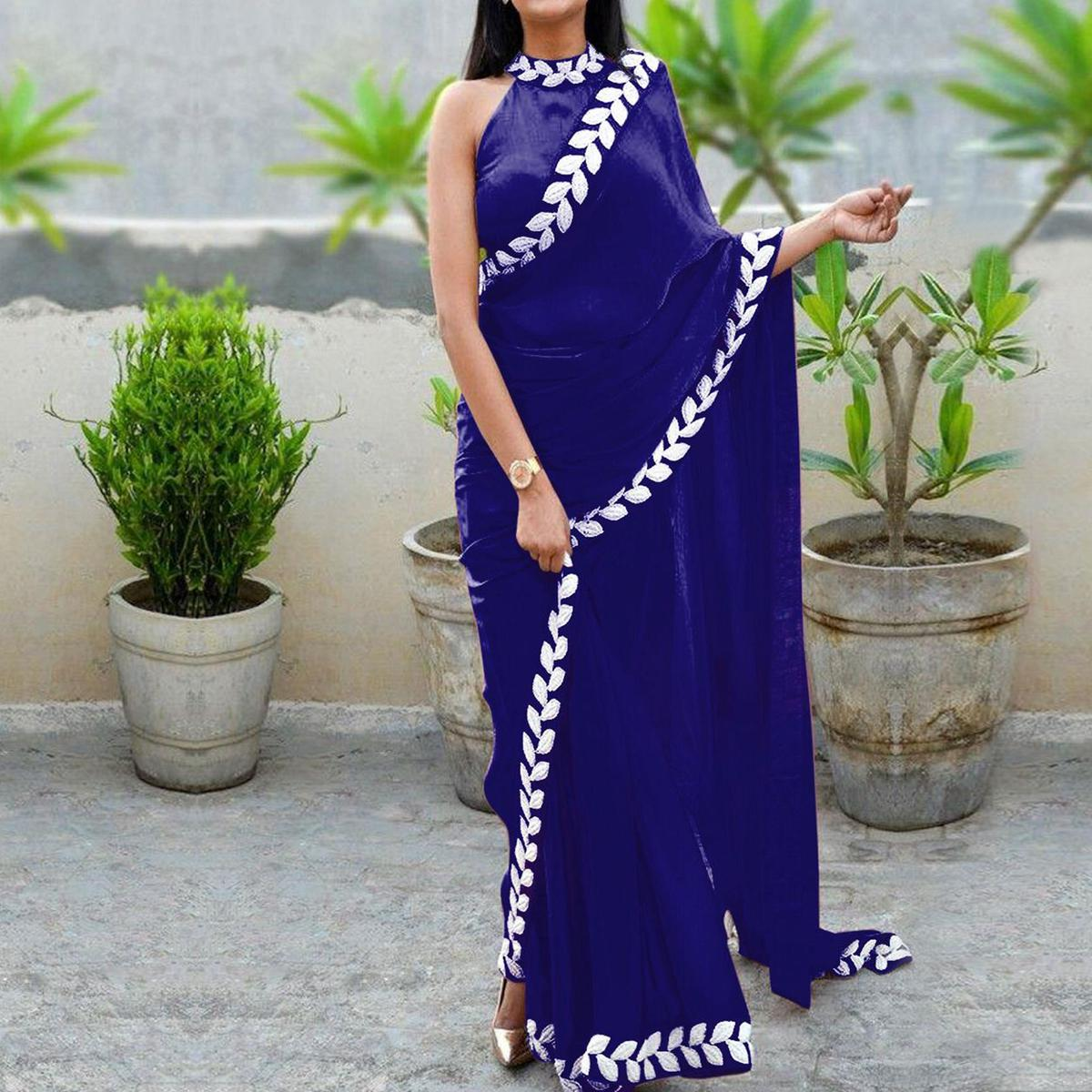 Hypnotic Navy Blue Colored Partywear Embroidered Art Silk Saree