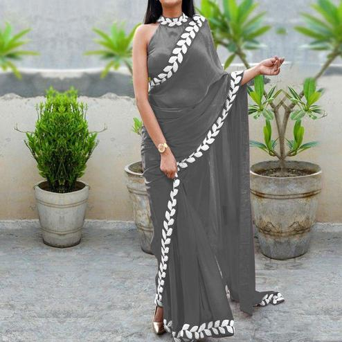Excellent Gray Colored Partywear Embroidered Art Silk Saree