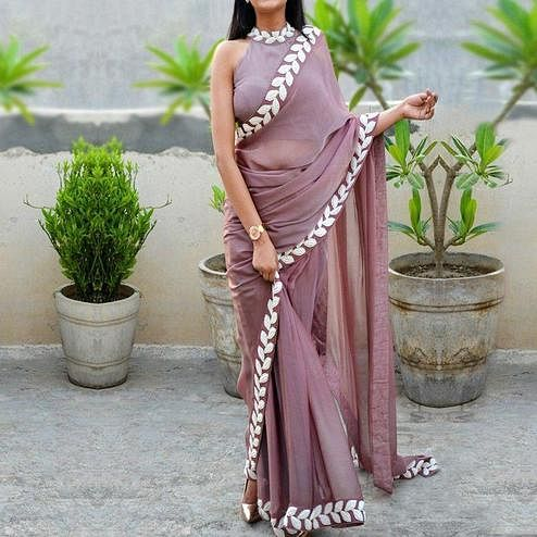 Preferable Light Mauve Colored Partywear Embroidered Art Silk Saree