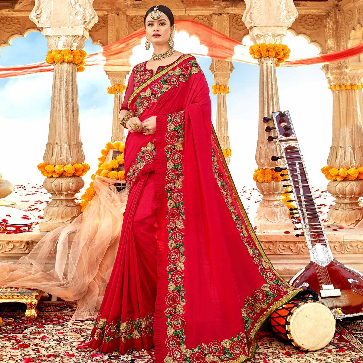 Preferable Red Colored Partywear Embroidered Georgette-Silk Saree