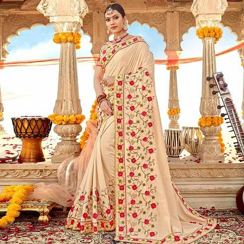 Marvellous Cream Colored Partywear Embroidered Georgette-Silk Saree