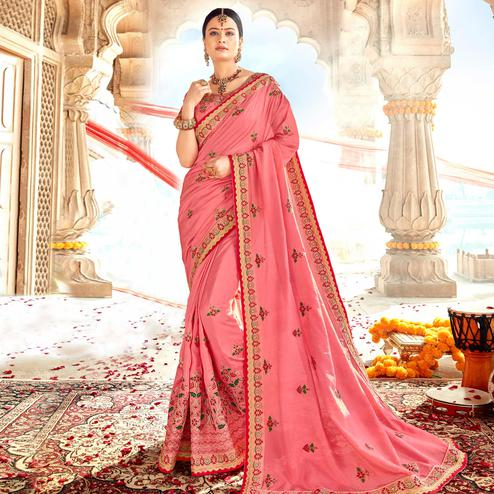 Pretty Pink Colored Partywear Embroidered Georgette-Silk Saree