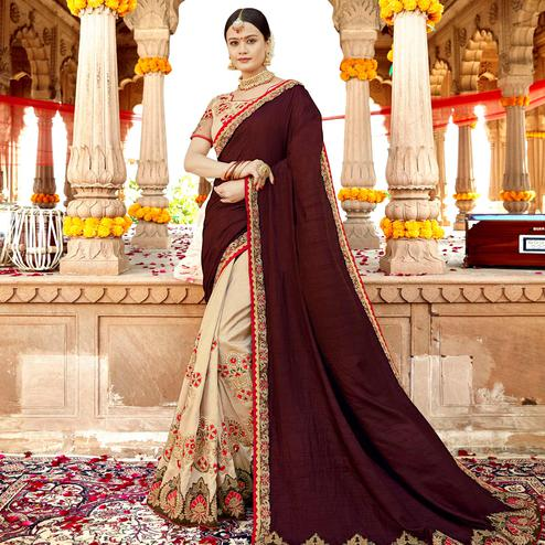 Alluring Cream-Coffee Brown Colored Partywear Embroidered Georgette-Silk Saree