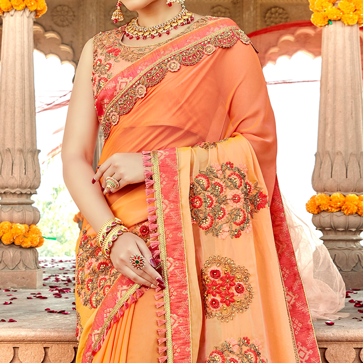 Sensational Peach Colored Partywear Embroidered Georgette-Silk Saree