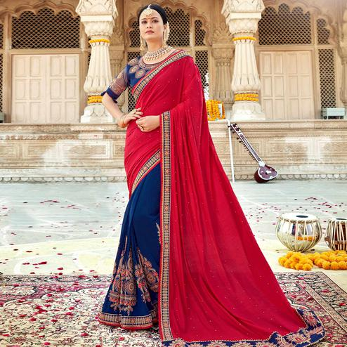 Flaunt Navy Blue-Red Colored Partywear Embroidered Georgette-Silk Saree