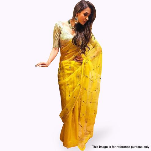Delightful Yellow Colored Partywear Embroidered Organza Silk Saree