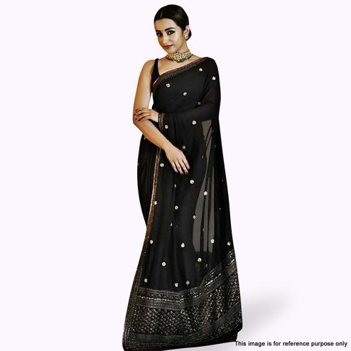 Engrossing Black Colored Partywear Embroidered Georgette Silk Saree