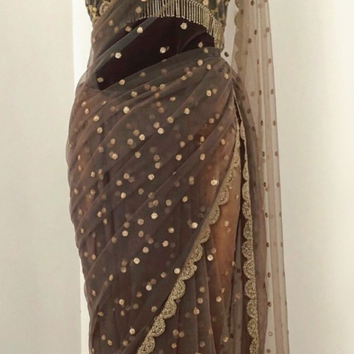Captivating Brown Colored Partywear Embroidered Nylon Net Saree
