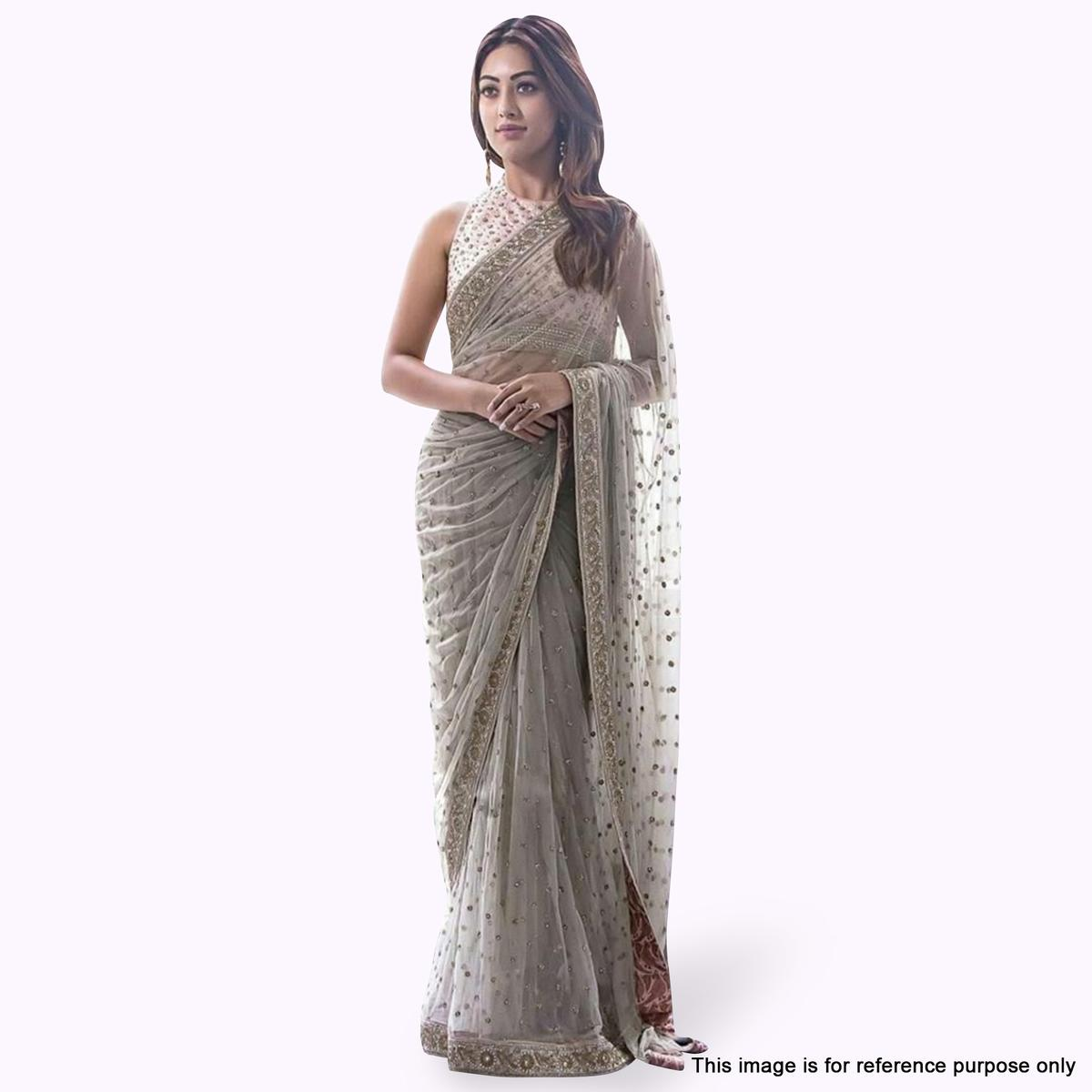 Innovative Grey Colored Partywear Embroidered Nylon Net Saree