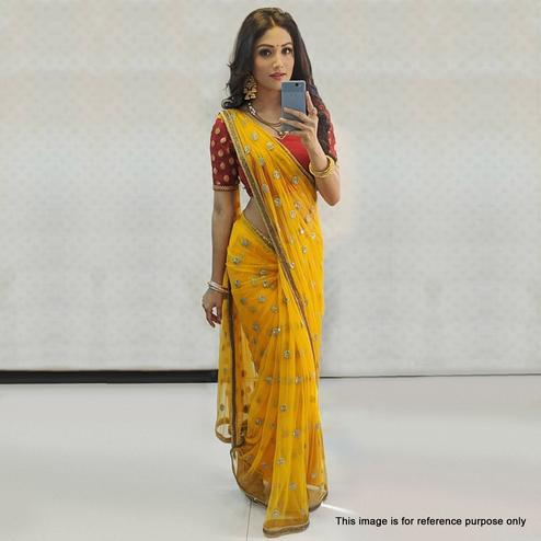 Eye-catching Yellow Colored Partywear Embroidered Pure Organza Silk Saree
