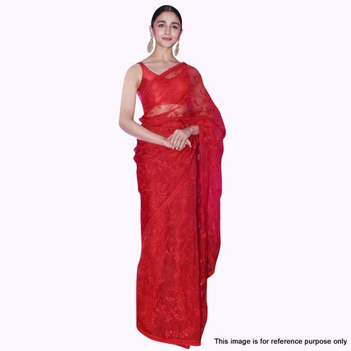 Fantastic Red Colored Partywear Embroidered Nylon Net Saree