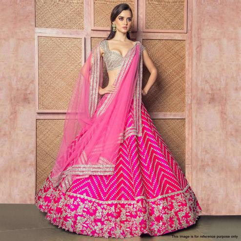 Exceptional Pink Colored Partywear Embroidered Tapeta Silk Lehenga Choli