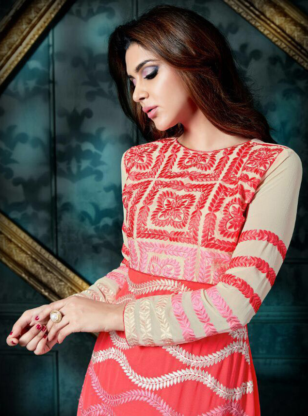 Peach - Off White Anarkali Salwar Suit